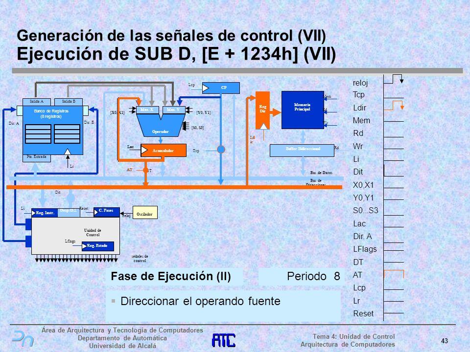 Generación de las señales de control (VII) Ejecución de SUB D, [E + 1234h] (VII)